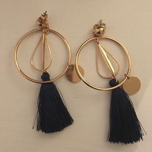 J Crew gold earrings with navy tassels